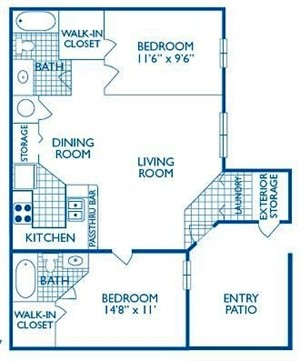 1,038 sq. ft. Wimberly floor plan