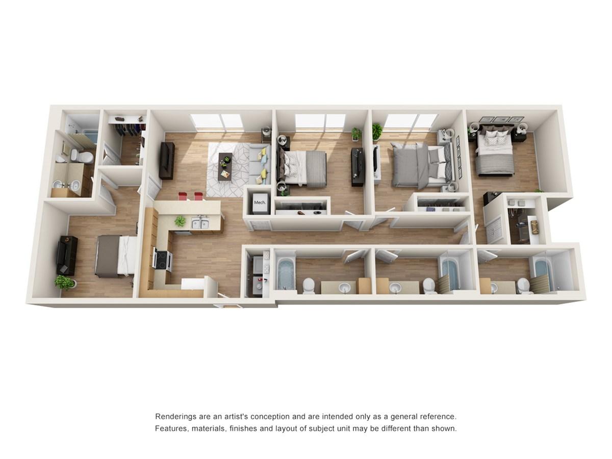 1,559 sq. ft. E1A floor plan