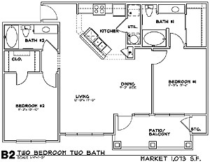 1,073 sq. ft. B2 floor plan