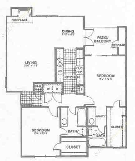 1,098 sq. ft. B3 floor plan