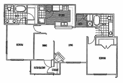 1,125 sq. ft. B2 PH I floor plan