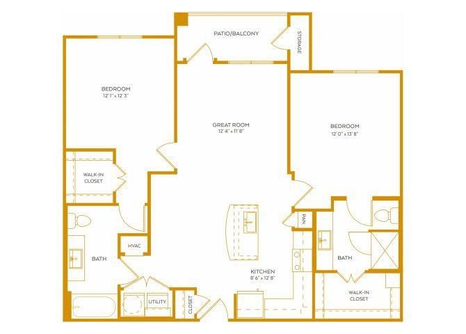 1,074 sq. ft. B2 floor plan