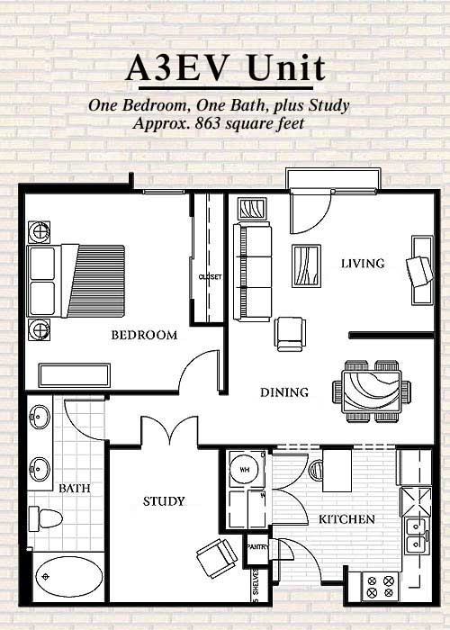 863 sq. ft. to 873 sq. ft. A3 floor plan
