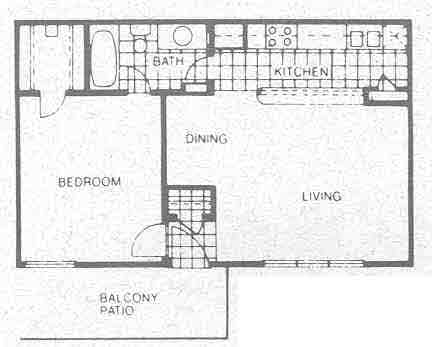 629 sq. ft. A2 floor plan