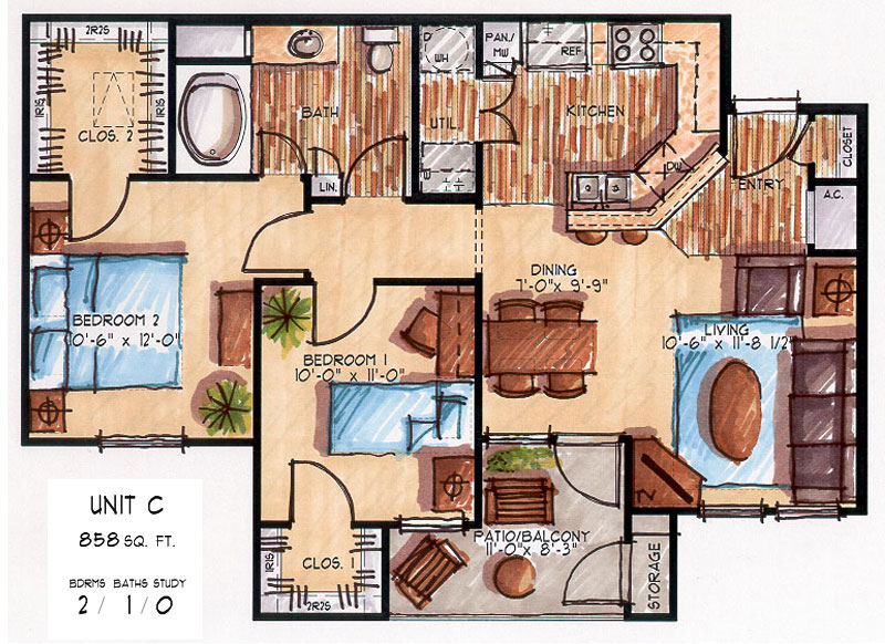 858 sq. ft. C floor plan