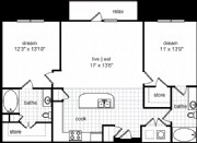 1,075 sq. ft. Lawrence floor plan