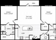 1,075 sq. ft. Lawrence floor plan