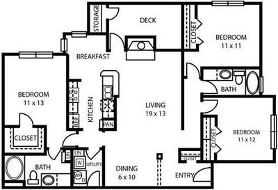 1,433 sq. ft. C2 floor plan