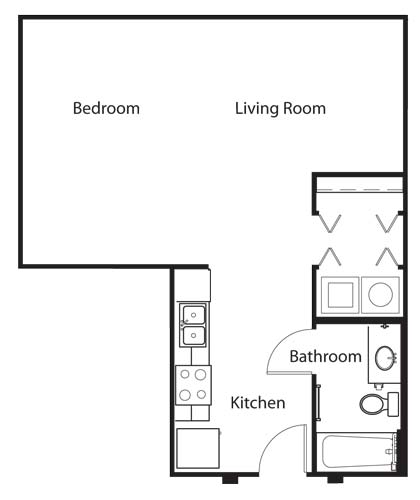 644 sq. ft. E2 floor plan