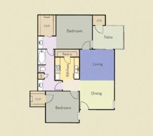 858 sq. ft. Red Oak floor plan
