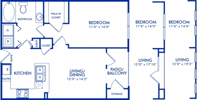 682 sq. ft. to 744 sq. ft. ALLSTON floor plan