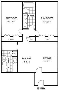 980 sq. ft. floor plan