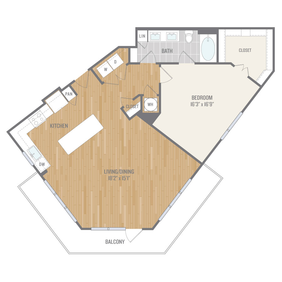 1,077 sq. ft. A11 floor plan
