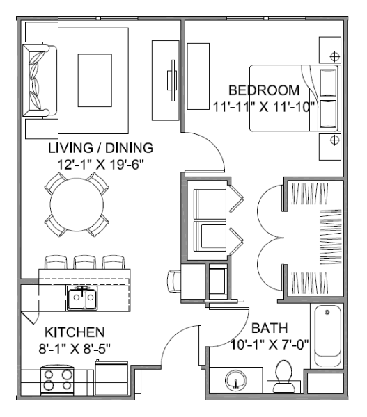713 sq. ft. Avenue D/60% floor plan