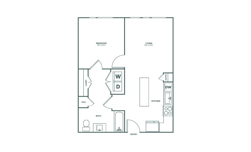 700 sq. ft. to 724 sq. ft. A3HC floor plan