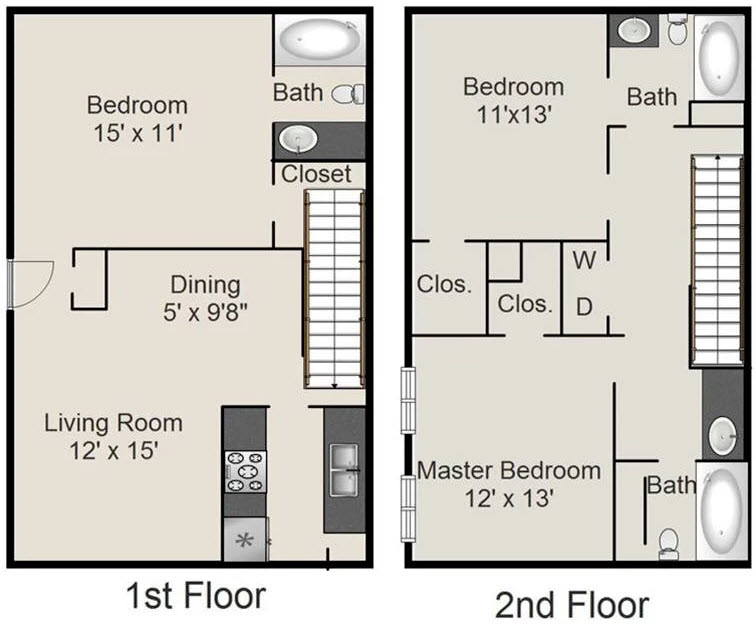 1,340 sq. ft. I floor plan