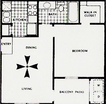 535 sq. ft. A floor plan