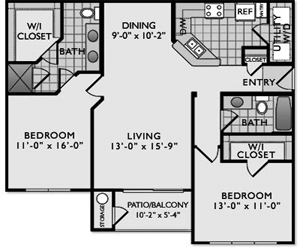 1,114 sq. ft. C3 II floor plan