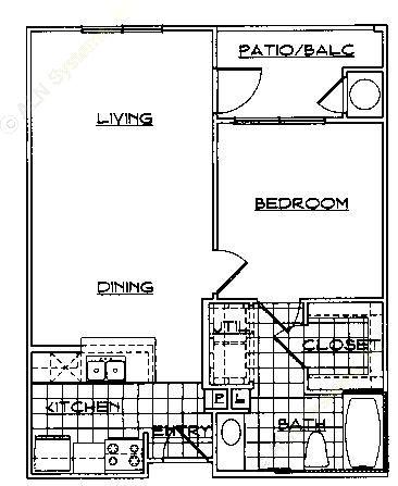 650 sq. ft. Mkt floor plan