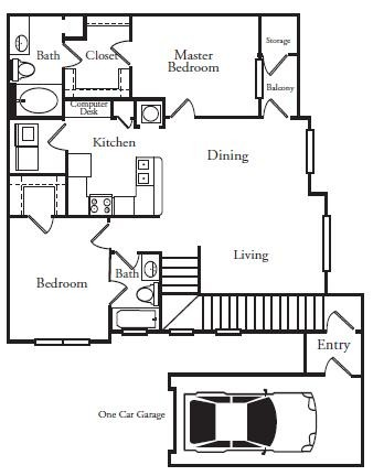 1,103 sq. ft. B2G floor plan