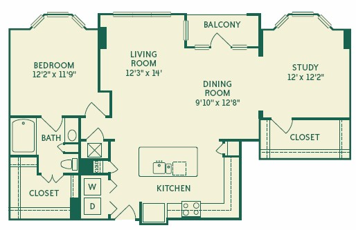 1,158 sq. ft. 2A3A floor plan