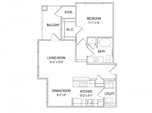 737 sq. ft. A2 floor plan