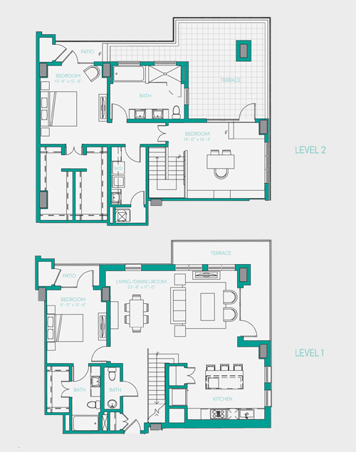 2,127 sq. ft. PH 4 floor plan