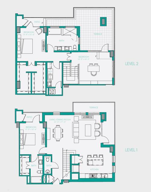 2,127 sq. ft. PH 4 floor plan