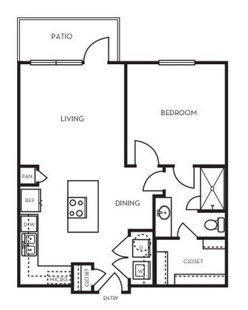 695 sq. ft. A1.3 floor plan