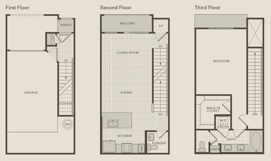 989 sq. ft. A2 floor plan