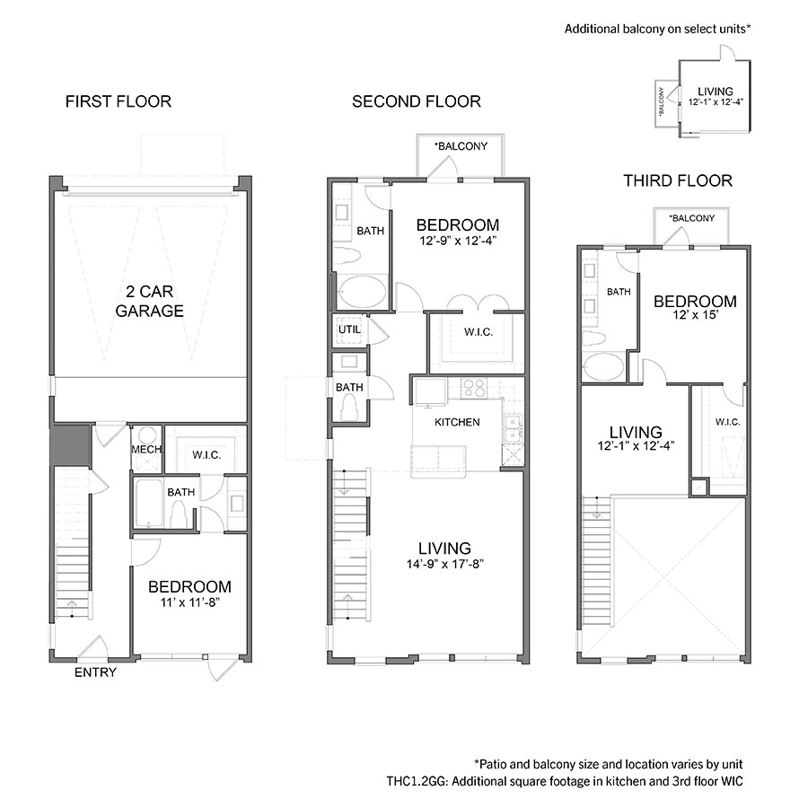 1,908 sq. ft. to 1,929 sq. ft. THC1GG floor plan