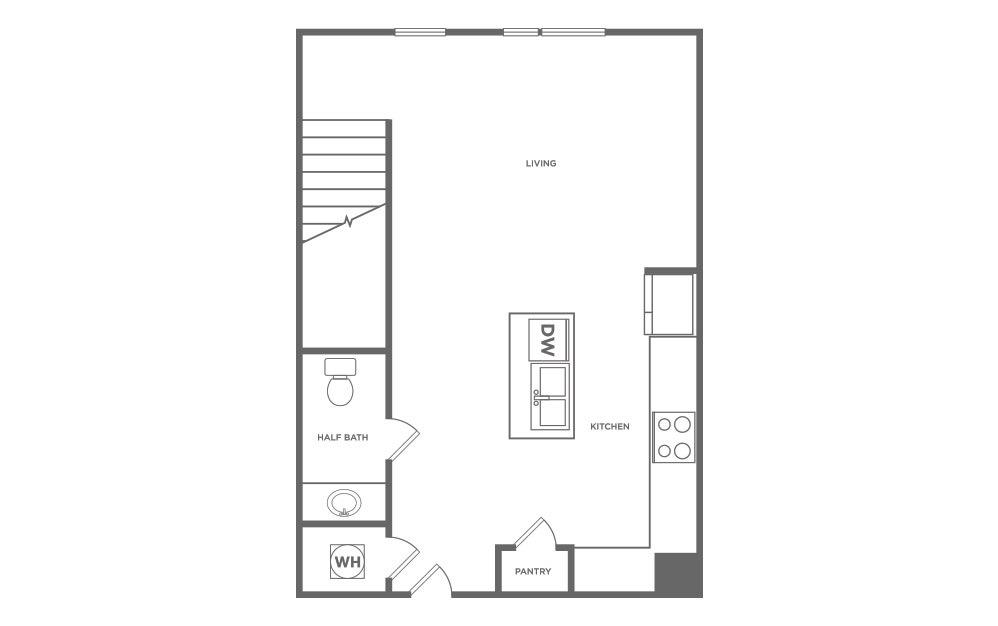 916 sq. ft. L1.1 floor plan