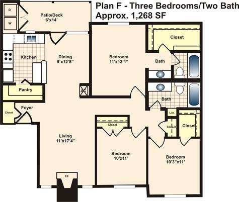 1,268 sq. ft. F floor plan