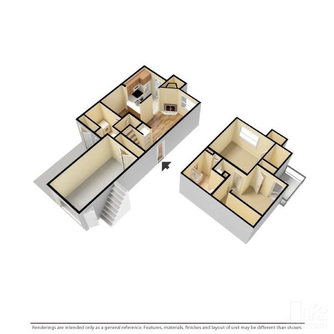 950 sq. ft. A2-G floor plan