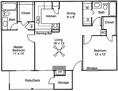 1,009 sq. ft. D floor plan