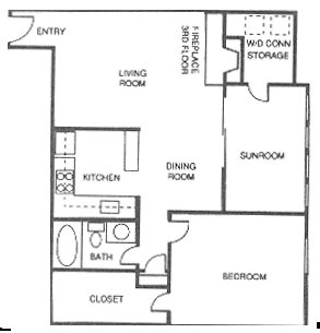 858 sq. ft. F floor plan