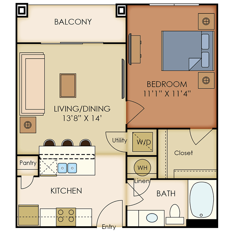 663 sq. ft. A5 floor plan