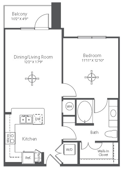 715 sq. ft. to 718 sq. ft. A2 floor plan
