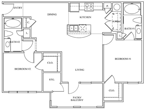 986 sq. ft. 22A floor plan