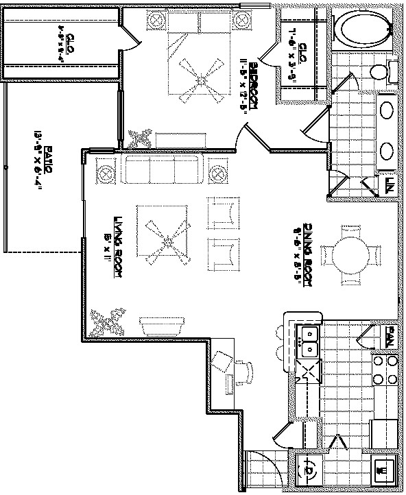 1,014 sq. ft. A4 floor plan