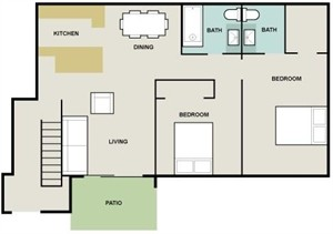 977 sq. ft. Portugal floor plan
