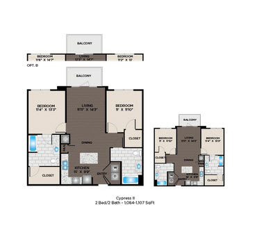 1,084 sq. ft. to 1,179 sq. ft. Cypress I floor plan