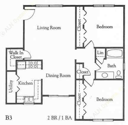 927 sq. ft. B3 floor plan