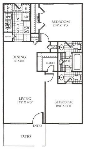 862 sq. ft. C floor plan
