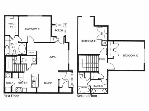 1,331 sq. ft. D1 floor plan