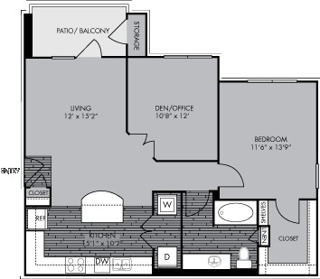 898 sq. ft. A3 floor plan