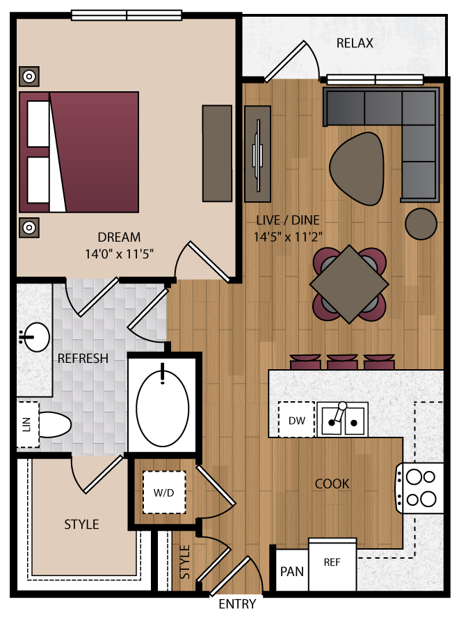 728 sq. ft. P-A4 floor plan