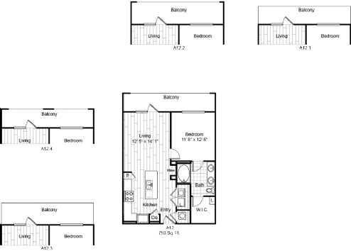 759 sq. ft. A12 floor plan