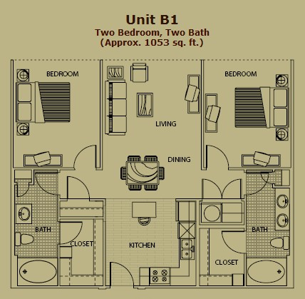 1,050 sq. ft. B1 floor plan