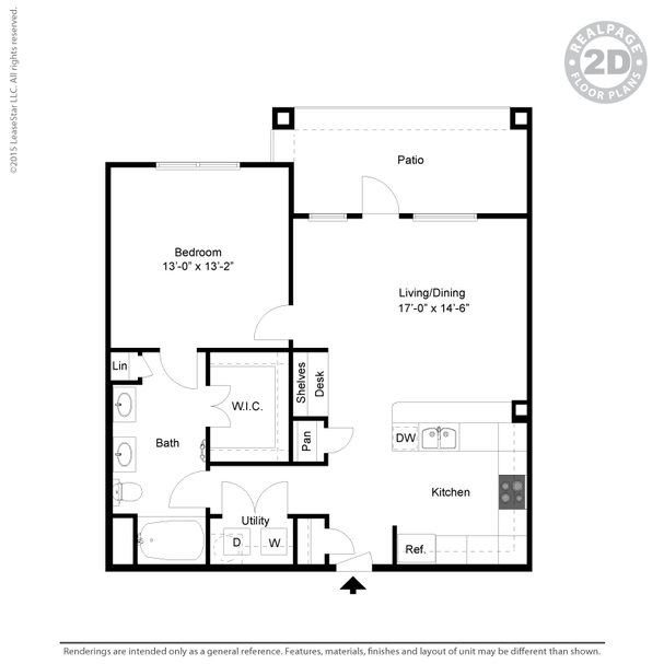 850 sq. ft. A5 floor plan